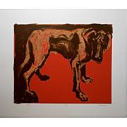 Red Dog Pop Art Serigraph By Julie Jankowski