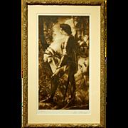 Sir Galahad By Watts: Antique Prang Co. Collograph