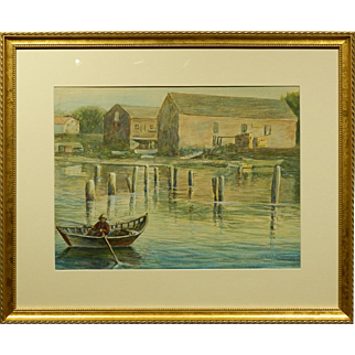 New England Marine Watercolor painting By S.W. Frazer c.1940