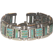 Heavy Vintage Inlaid Turquoise & Sterling Silver Toggle Bracelet