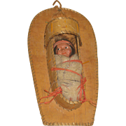 Vintage Skookum Native American Baby Papoose Doll with Carrier