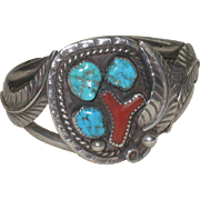 Early Navajo Cuff Bracelet Sterling, Turquoise and Coral Circa 1950-70's Signed D Charley