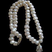 Vintage 14k Gold & Diamond Pearl Necklace Pendant signed JKA