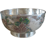 Vintage Antique Wang Hing Silver 19th Century Chinese Bowl Flowers, Blossoms