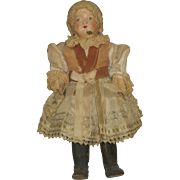 Antique Composition Doll with Hand Painted Features, original clothes