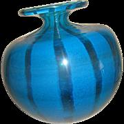 Impressive Brilliant Aqua & Gold Striped Murano glass Vase signed Molina