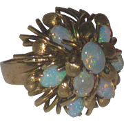 Vintage 14K Yellow Gold 8 Opal Cluster Domed Ring Size 7.5