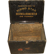 Antique Siegfried & Brandenstein San Francisco Rising Star Coffee, Spice, Tea Wooden Advertising Display Box