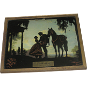 Vintage Reverse Glass Southern Belle, Soldier & Horse Advertising for Houston Oil Center Tool Co