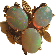 Vintage Estate 14k Gold Stunning Opal and Diamond Ring