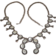"Heavy Vintage Sterling Silver & Moonstone signed ""JTS"" Navajo Squash Blossom Necklace"