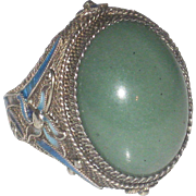 Early Vintage Chinese Export Jade & Enamel Gilt over Silver Ring