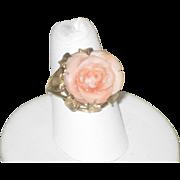 Vintage Carved Angel skin Coral Rose & 14k Gold Ring