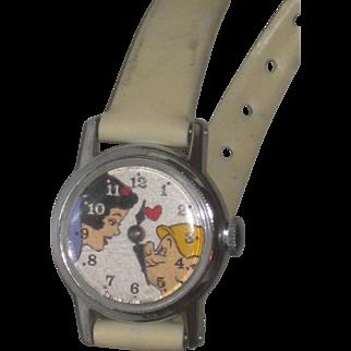 Vintage Walt Disney Young Child's Snow White & Dopey Wind up Wrist Watch original band