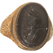 Antique 10k Gold & Black Sardonyx Cameo Roman Soldier Ring