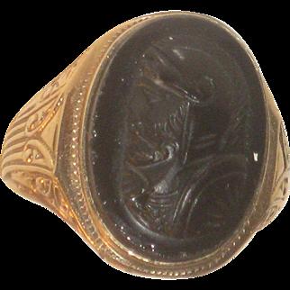 Antique 10k Gold & Black Sardonyx Cameo Roman Soldier Ring
