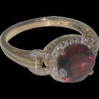 Breathtaking 14k Gold Orange Sapphire & Diamond Ring