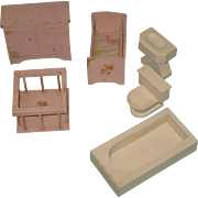Vintage Hall's Lifetime Toys Doll House Furniture Wooden Play Set Pink Baby Bedroom & Bathroom