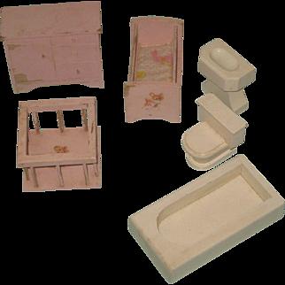Vintage Hall's Lifetime Toys Doll House Furniture Wooden Play Set Pink Baby Bedroom & Bathroom