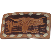 Vintage Texas Longhorns Steer Bull Leather Belt Buckle