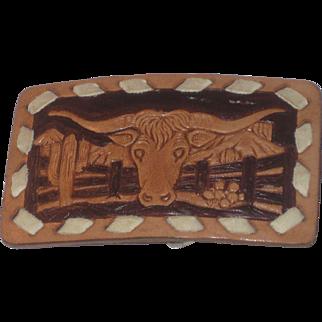 Vintage Texas Longhorns Steer Bull Leather Belt Buckle