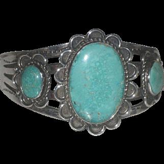 Vintage Native American Navajo Turquoise Sterling Cuff Bracelet Stamped Designs