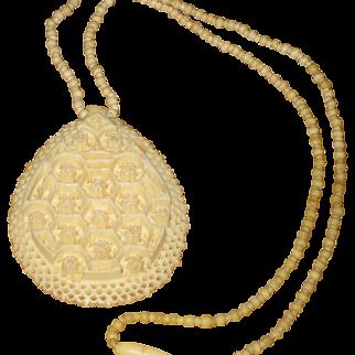 Vintage Large Carved Bone Necklace with Ornate Design