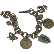 Vintage 1940's Coro Double Link Charm Bracelet with US Coins, Crowns & Enamel Shield
