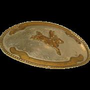 1970's Western Rodeo Trophy Belt Buckle Comstock German Silver