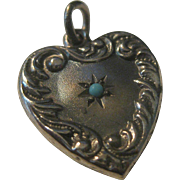 Sweet Vintage Sterling Silver & Robins Egg Blue Turquoise Heart Charm