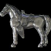 Large Impressive Vintage Sterling Silver Western Horse Brooch