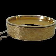 Vintage Hayward Signed 1/20 12K Gold Filled Etched Bangle Bracelet Hinged