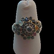 Vintage 18K Multi Gemstone Siam Princess Harem Dome Ring Size size 7.5