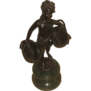 Vintage Suzanne Bizard Bronze Girl With Baskets Figure Statue On Marble Base