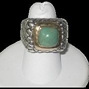 Beautiful Dian Malouf Vintage Designer Sterling & 14K Gold Green Agate Ring