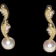Brilliant Estate 18k Gold, Mikimoto Diamond and Pearl Dangle Earrings