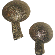 Adorable Pair of Vintage 1970's Castlecliff Button Mushroom Pins Brooches
