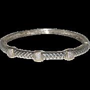 Vintage Designer Alwand Vahan Sterling Silver Braided 14k Gold & Diamond Hinged Bangle Bracelet