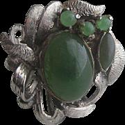 Huge Retro Vintage Jade & Sterling Silver Cocktail Ring