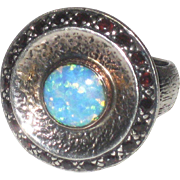 Vintage Signed Sterling Silver, Rose Gold Opal & Garnet Disc Ring Israel