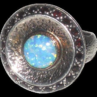 Vintage Signed Sterling Silver, Rose Gold Opal & Garnet Disc Ring Israel