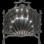 Antique Ornate Silver Plate Staniforth's Bun Warmer Mechanical Clam Shell Design