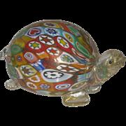 Colorful Vintage Murano Glass Millefiori Turtle