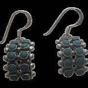 Vintage Southwester Sterling & Green Turquoise Snake Eyes Zuni Earrings