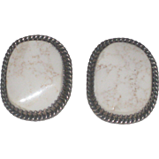Vintage Running Bear White Buffalo Turquoise Sterling Earrings