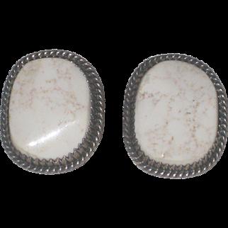 Vintage Running Bear White Buffalo Turquoise Sterling Earrings
