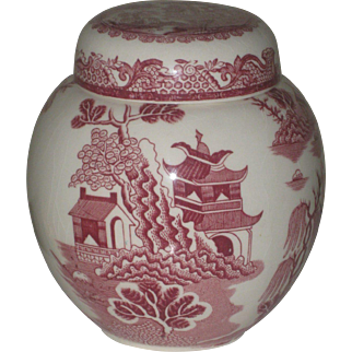 Vintage Masons For Twinings Ltd Pink Willow Ginger Jar, Made In England