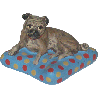 Antique Bermann Austrian Vienna Miniature Cold Paint Bronze Pug Dog on Pillow