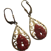 Gorgeous Vintage 14k Gold & Carved Coral Lever Back earrings
