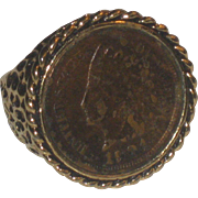Vintage 18k HGE Indian Head Penny Ring Dated 1904